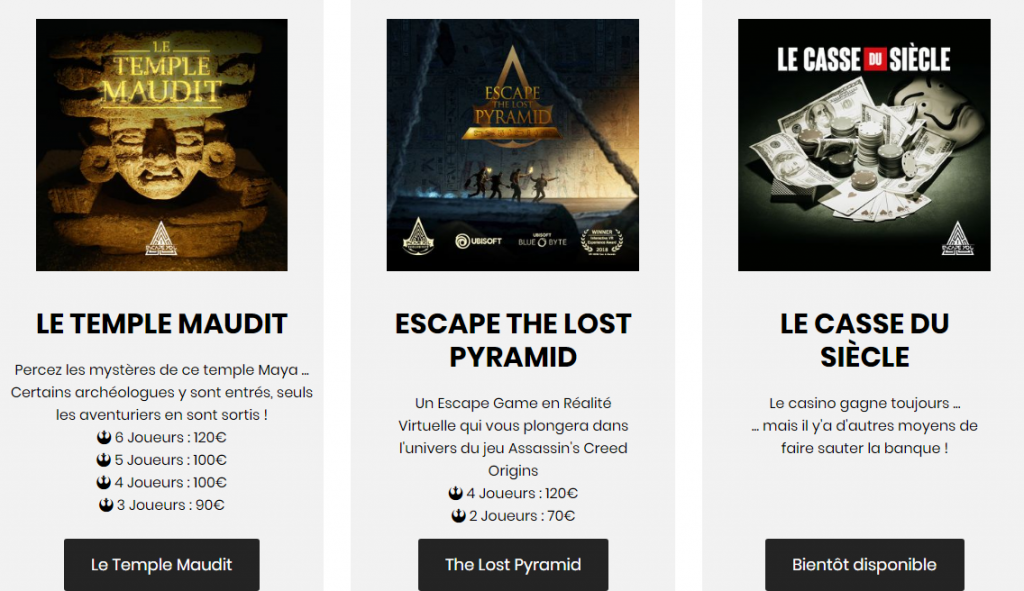 Les différents Escapes Games proposés par Escape You