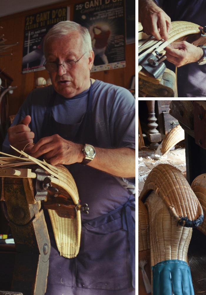 Monsieur Gonzalez en train de fabriquer une chistera dans son atelier