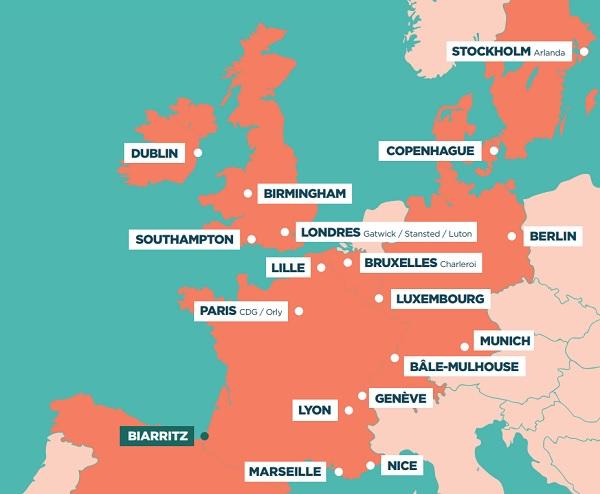 Carte des villes accessibles depuis l'aéroport de Biarritz Pays Basque