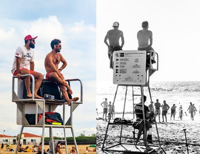 Sauveteurs Côtiers, sur leur mirador, surveillent la zone de baignade à Anglet