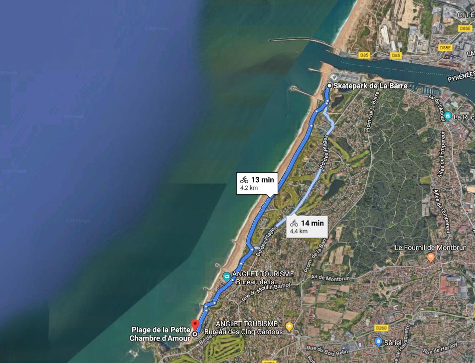 Promenade à vélo sur le littoral d'Anglet
