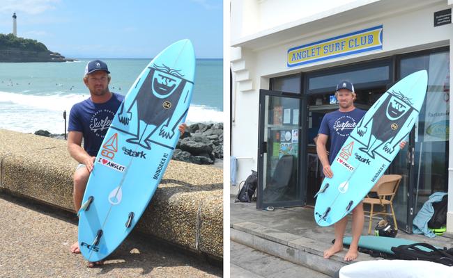 Pierrot Coutant devant l'Anglet Surf Club